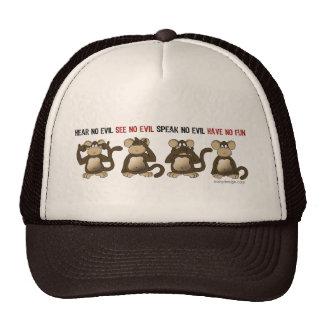 Humor sábio dos macacos bonés