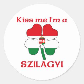 Húngaros personalizados beijam-me que eu sou adesivos em formato redondos