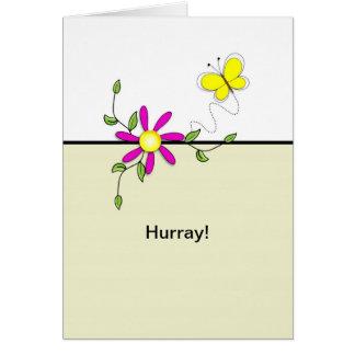 Hurray-Último círculo da flor da Chemo-Borboleta Cartão Comemorativo