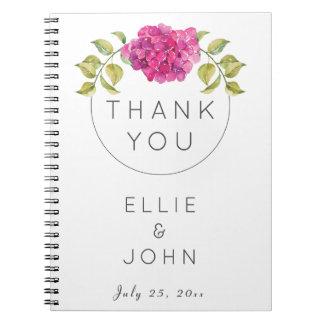 Hydrangea do rosa quente do favor do casamento cadernos