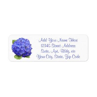 Hydrangea floral etiqueta endereço de retorno
