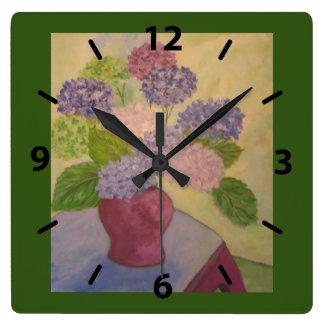 Hydrangea lunático relógio quadrado