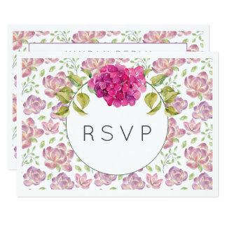 Hydrangea moderno RSVP do rosa quente da aguarela Convite 8.89 X 12.7cm