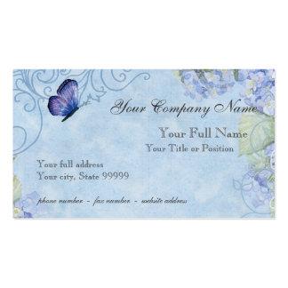 Hydrangeas azuis, borboleta & floral moderno do cartão de visita
