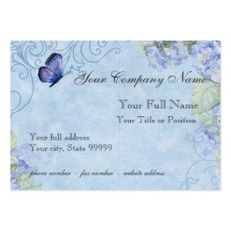 Hydrangeas azuis, borboleta & floral moderno do re cartão de visita