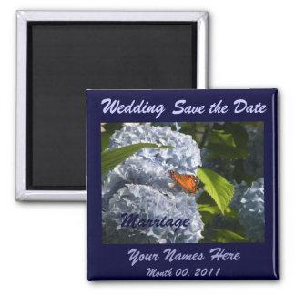 Hydrangeas azuis que Wedding o ímã Ímã Quadrado