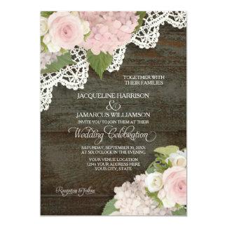 Hydrangeas cor-de-rosa escuros da madeira n do convite 12.7 x 17.78cm