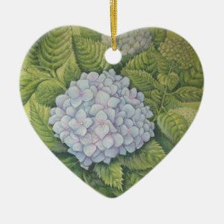 Hydrangeas no aniversário do coração de Lanhydrock Ornamento De Cerâmica Coração