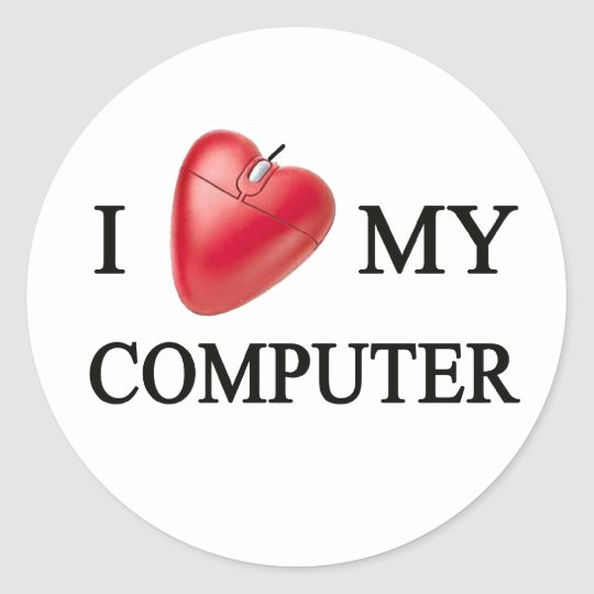 I LOVE MY COMPUTER ADESIVO REDONDO