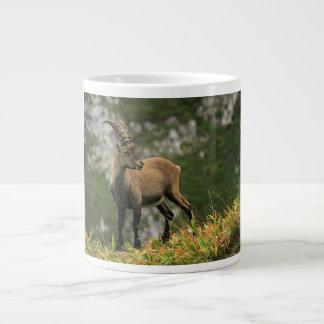 Íbex selvagem alpino, da cabra, ou steinbock caneca de café grande