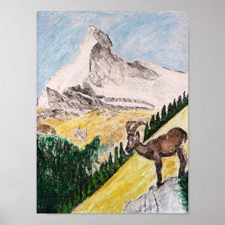 Íbex sobre a vista do Matterhorn Pôster