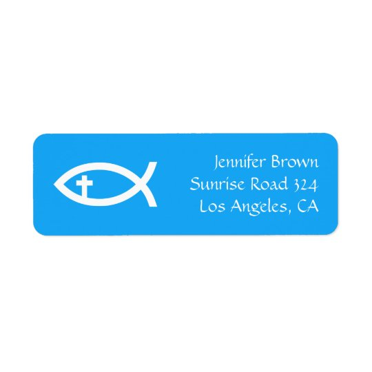 Ichthus - símbolo cristão dos peixes etiqueta endereço de retorno