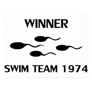 ícone 1974 da equipe de natação do vencedor cartão postal