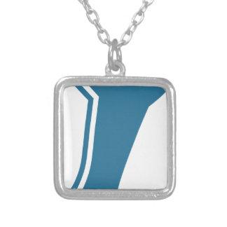Ícone azul dos calçados de balé colar com pendente quadrado