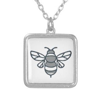 Ícone da abelha do zangão colar banhado a prata