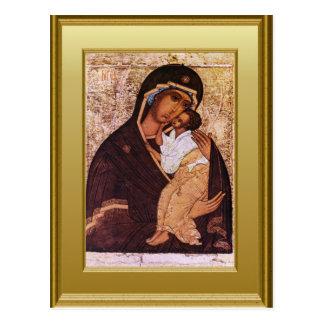 Ícone da Virgem Maria e da criança Jesus Cartão Postal