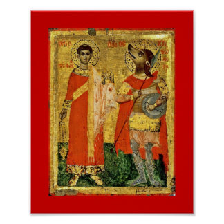 Ícone de St Stephen com soldado Poster