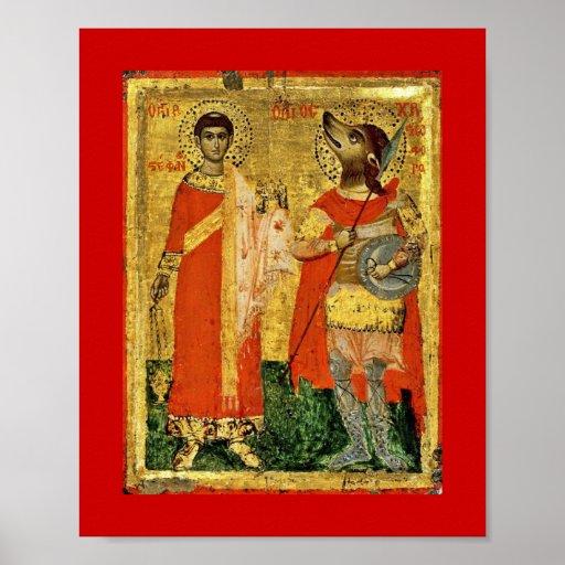 Ícone de St Stephen com soldado Posters