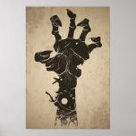 Ícone do Dia das Bruxas do vintage - mão do zombi Impressão