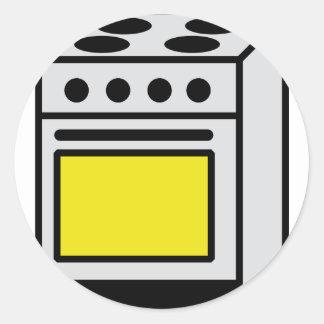 ícone do fogão do forno da cozinha adesivos redondos