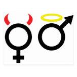 ícone fêmea e masculino cartão postal