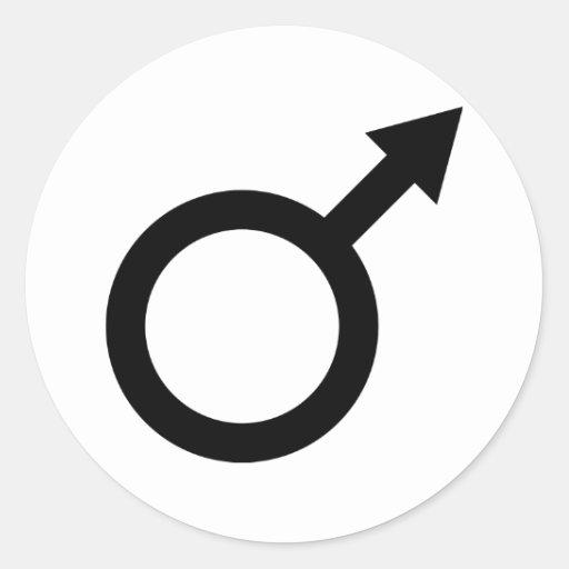 ícone masculino do sinal do homem negro adesivo redondo