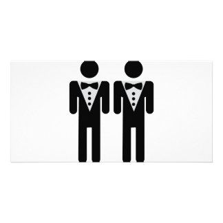 ícone nupcial homossexual do casal cartão com foto