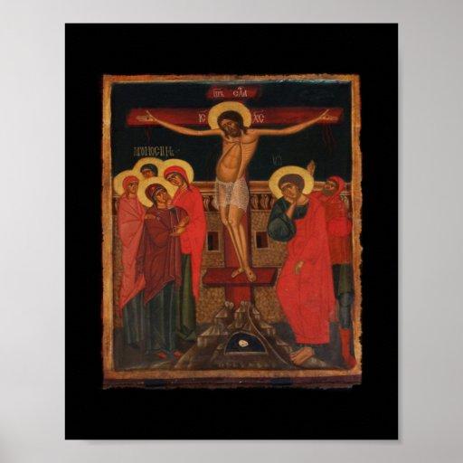 Ícone ortodoxo de Jesus na cruz Pôsteres