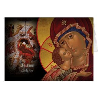 Ícone ortodoxo de Theotokos do cartão de Natal de