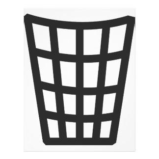 ícone preto da cesta de lixo panfletos coloridos