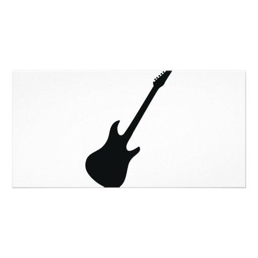 ícone preto da guitarra cartão com foto personalizado
