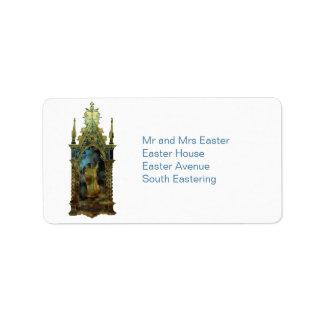 Ícone religioso da páscoa etiqueta de endereço