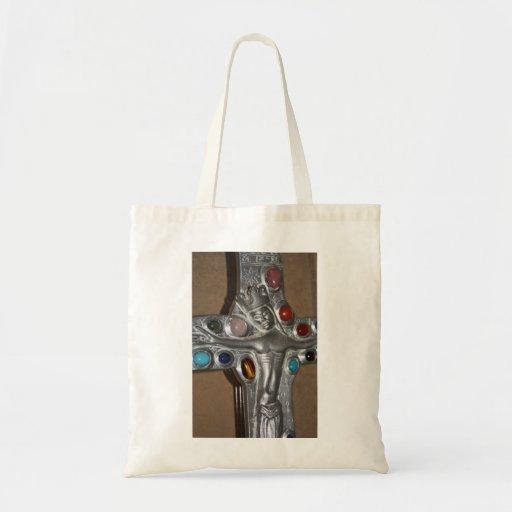 Ícone religioso enchido com sacola das gemas bolsas para compras