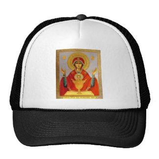 ícone religioso mary santamente e criança boné