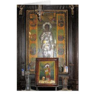 Ícone religioso ortodoxo grego de um santo cartão comemorativo