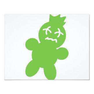 ícone verde da boneca do horror convite 10.79 x 13.97cm