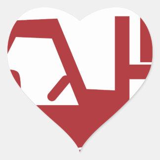 Ícone vermelho da empilhadeira adesivo coração