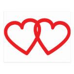 ícone vermelho de dois corações cartao postal
