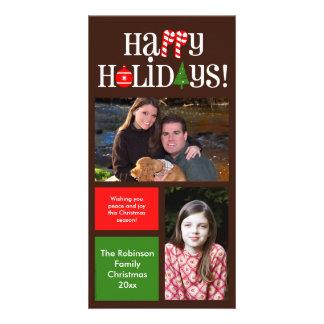 Ícones da letra e cartões com fotos do feriado dos