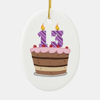 Idade 13 no bolo de aniversário ornamento de cerâmica oval