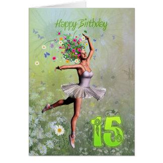 Idade 15, cartão de aniversário feericamente da