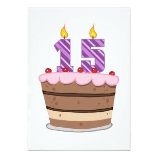 Idade 15 no bolo de aniversário convite 12.7 x 17.78cm