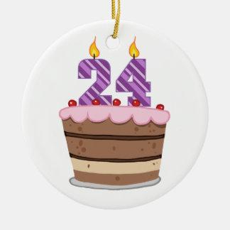 Idade 24 no bolo de aniversário enfeites de natal
