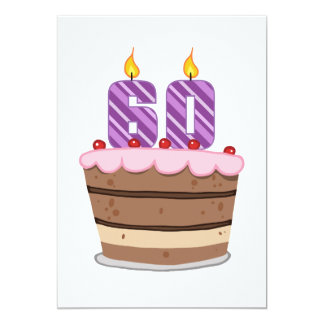 Idade 60 no bolo de aniversário convites personalizado