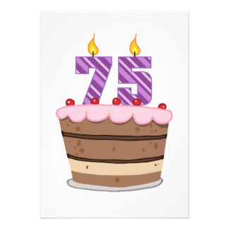 Idade 75 no bolo de aniversário convites personalizado