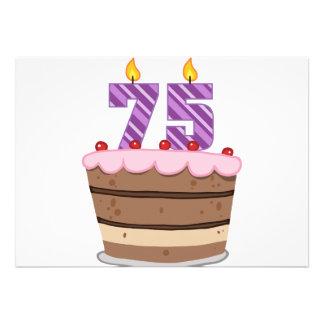 Idade 75 no bolo de aniversário convites