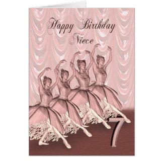 Idade 7 da sobrinha, um cartão de aniversário da