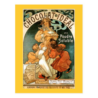 Ideal de Alphonse (Alfons) Mucha Chocolat Cartao Postal