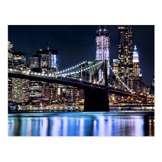 Ideia da reflexão da ponte de Brooklyn de New York Cartão Postal