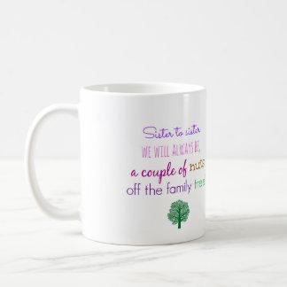 Ideia do presente para a caneca de café da irmã